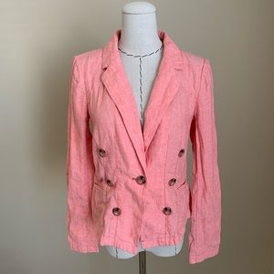 Tailored Anthropologie Seaboard Pink Linen Blazer